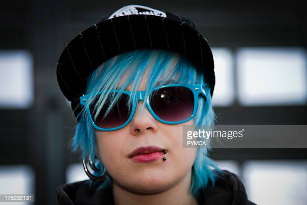 Emo girl with blue hair and matching shades Helsinki Finland 2010