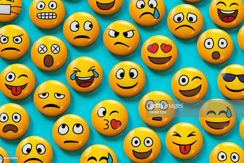 Emoji badges on blue background : Stock Photo