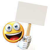 Emoji holding blank board isolated on white background, emoticon advertiser 3d rendering