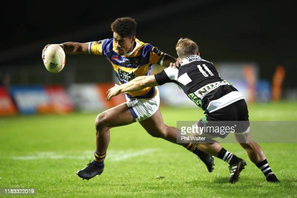 Emoni Narawa of Bay of Plenty is tackled during the Mitre 10 Cup Championship Final between Bay of Plenty and Hawke's Bay at Rotorua International...