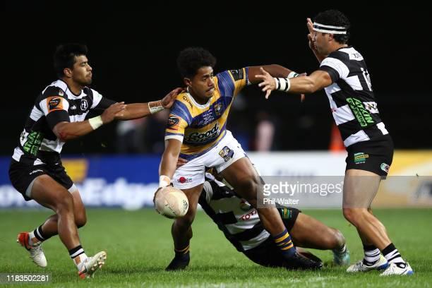 Emoni Narawa of Bay of Plenty is tackled during the Mitre 10 Cup Championship Final between Bay of Plenty and Hawke's Bay at Rotorua International...