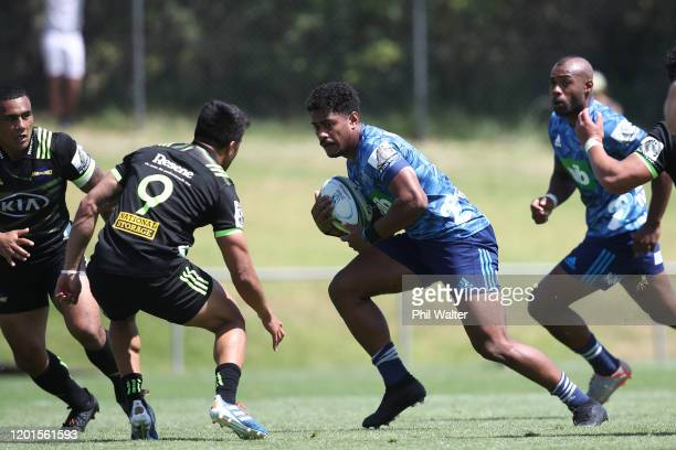 Emoni Narawa of the Blues during the Super Rugby preseason match between the Blues and the Hurricanes at Onewa Domain on January 24 2020 in Auckland...