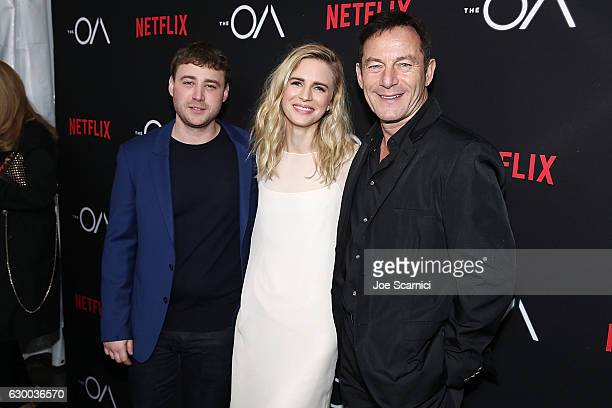 Emory Cohen Brit Marling and Jason Isaacs arrive at the Premiere Of Netflix's The OA at the Vista Theatre on December 15 2016 in Los Angeles...