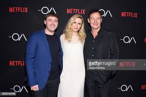 Emory Cohen Brit Marling and Jason Isaacs attend the premiere of Netflix's The OA at the Vista Theatre on December 15 2016 in Los Angeles California