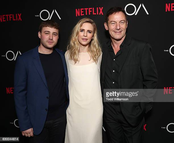 Emory Cohen Exec Producer/Writer/Actor Brit Marling and Jason Isaacs attend the premiere of Netflix's The OA at the Vista Theatre on December 15 2016...