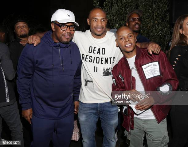 Emory Jones Kareem 'Biggs' Burke and Tyran 'Ty Ty' Smith attend the Madeworn x Roc96 PopUp Event on May 31 2017 in Los Angeles California