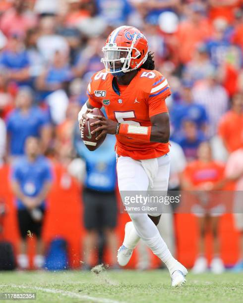 Emory Jones of the Florida Gators in action during the fourth quarter of a game against the Towson Tigers at Ben Hill Griffin Stadium on September 28...