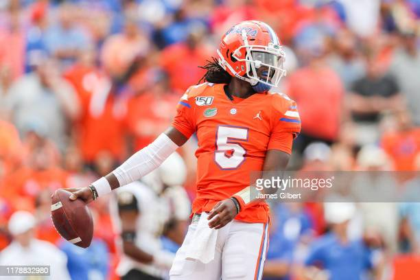 Emory Jones of the Florida Gators reacts to a call during the fourth quarter of a game against the Towson Tigers at Ben Hill Griffin Stadium on...