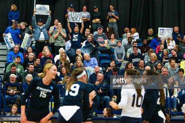 Emory University fans cheer during the Division III Women's Volleyball Championship held at the AJ Palumbo Center on November 17 2018 in Pittsburgh...