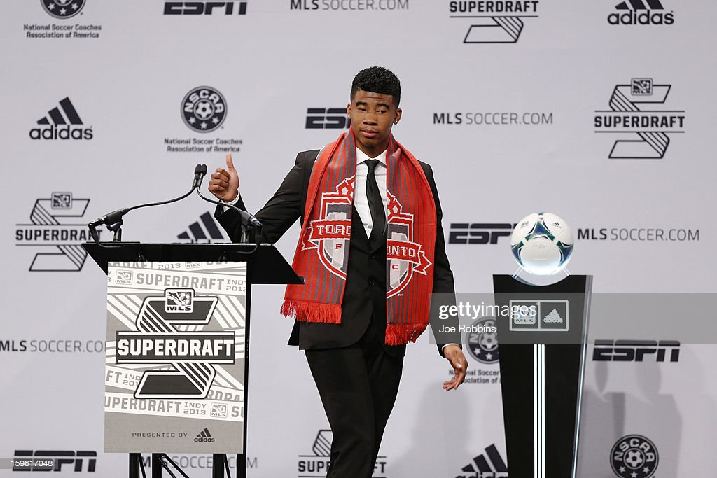 Emory Welshman of Oregon State acknowledges the crowd after being selected by Toronto FC as the 16th overall pick in the 2013 MLS SuperDraft Presented by Adidas at the Indiana Convention Center on January 17, 2013 in Indianapolis, Indiana.