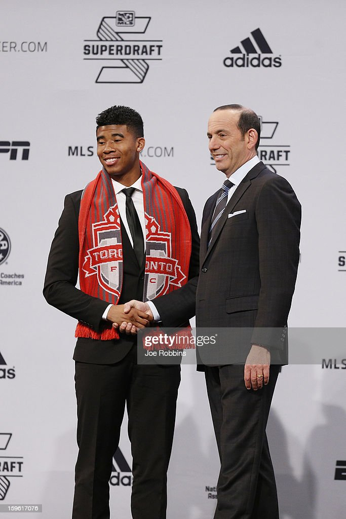 Emory Welshman of Oregon State shakes hands with commissioner Don Garber after being selected by Toronto FC as the 16th overall pick in the 2013 MLS SuperDraft Presented by Adidas at the Indiana Convention Center on January 17, 2013 in Indianapolis, Indiana.