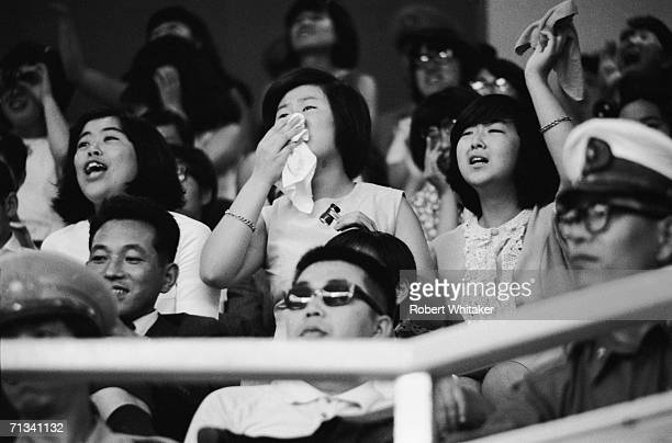Emotional Beatles fans at the Budokan Hall Tokyo Japan during the band's tour of Asia 1966