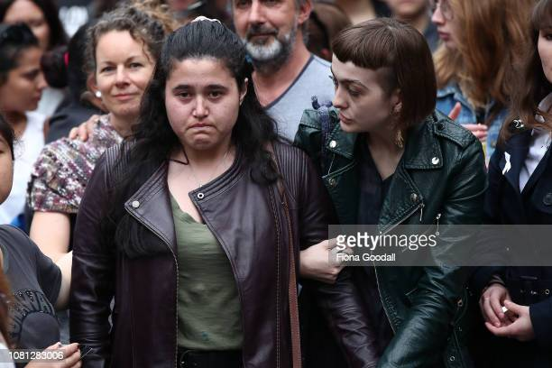 Emotions are clear as people gather to honour Grace Millane in Federal St on December 12 2018 in Auckland New Zealand The body of 22yearold Grace...