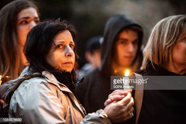 Emotions are high as the vigil is underway Aftermath of the mass shooting at the Tree of Life Synagogue in Squirrel Hill Pittsburgh PA While much...