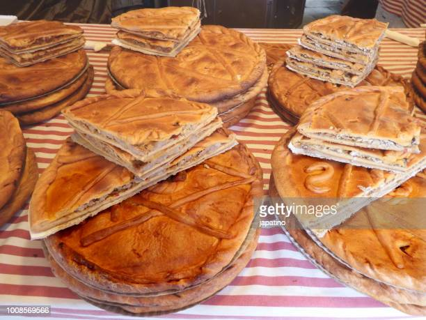 empanadas street shop, typical food from galicia north of spain - empanada stock pictures, royalty-free photos & images