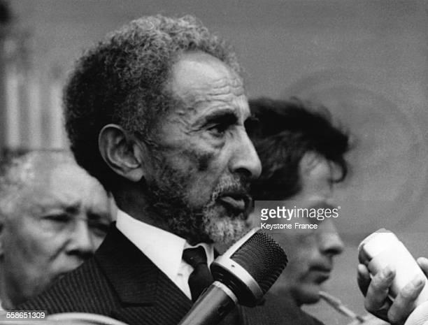 Empereur d'Ethiopie Haile Selassie a sa sortie de l'Elysee ou il s'est entretenu avec le President Pompidou le 4 juin 1970 a Paris France