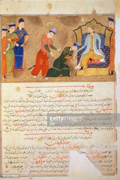 L'empereur mongol Gengis Khan donnant une audience sur son trône miniature persanne du XIVè siècle