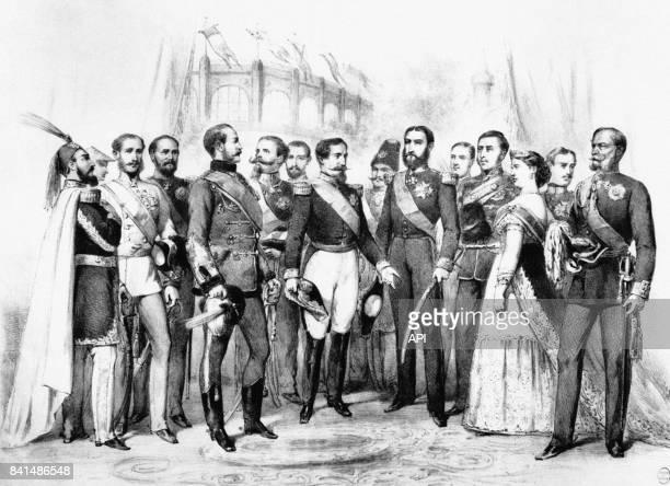 L'empereur Napoléon III recevant des souverains étrangers lors de l'exposition universelle de 1867 à Paris en France