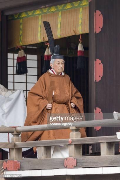 Emperor Akihito 85yearold attends the 'Taiirei Tojitsu Kashikodokoro Omae no Gi' a ceremony to report Goddess Amaterasu to hold his abdication...