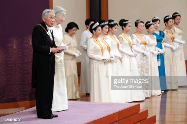 Emperor Akihito addresses during the 'ShinnenShukuganoGi' New Year Celebration Ceremony at the Imperial Palace on January 01 2019 in Tokyo Japan