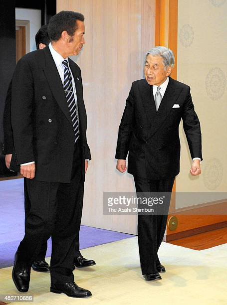Emperor Akihito and Botswana President Ian Khama enter a room prior to their meeting at the Imperial Palace on October 18 2010 in Tokyo Japan