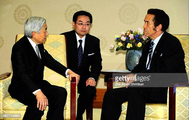 Emperor Akihito and Botswana President Ian Khama talk during their meeting at the Imperial Palace on October 18 2010 in Tokyo Japan