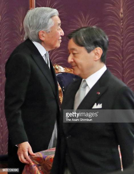 Emperor Akihito and Crown Prince Naruhito attend the 'KoshoHajimenoGi' the first lecture of the year at the Imperial Palace on January 10 2018 in...