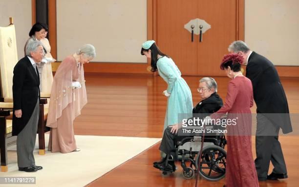 Emperor Akihito and Empress Michiko are greeted by Princess Mako of Akishino, Prince Hitachi and Princess Hanako of Hitachi during the ceremony...