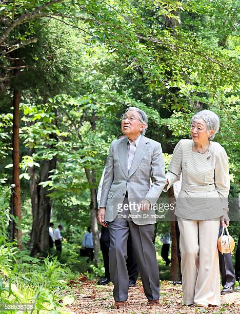 Emperor Akihito and Empress Michiko are seen at the Afan Woodland during their visit to Nagano on June 6 2016 in Shinano Nagano Japan