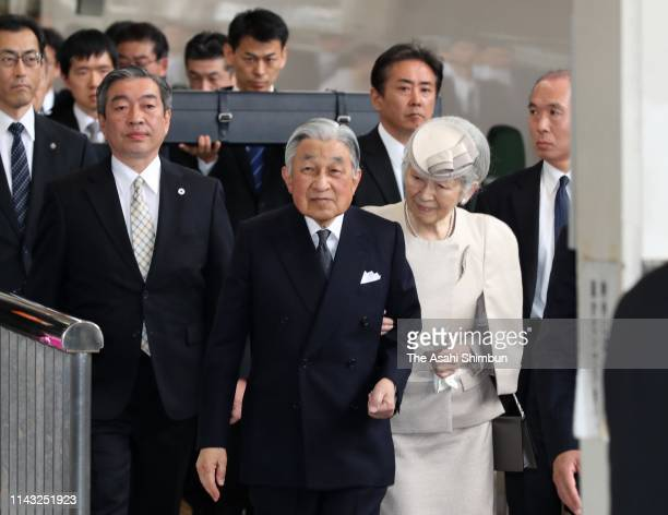 Emperor Akihito and Empress Michiko are seen at Tokyo Station on their way to the Ise Shrine on April 17, 2019 in Tokyo, Japan. The emperor will...