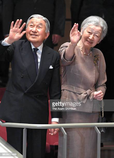 Emperor Akihito and Empress Michiko are seen on arrival at a charity concert on June 25, 2018 in Tokyo, Japan.