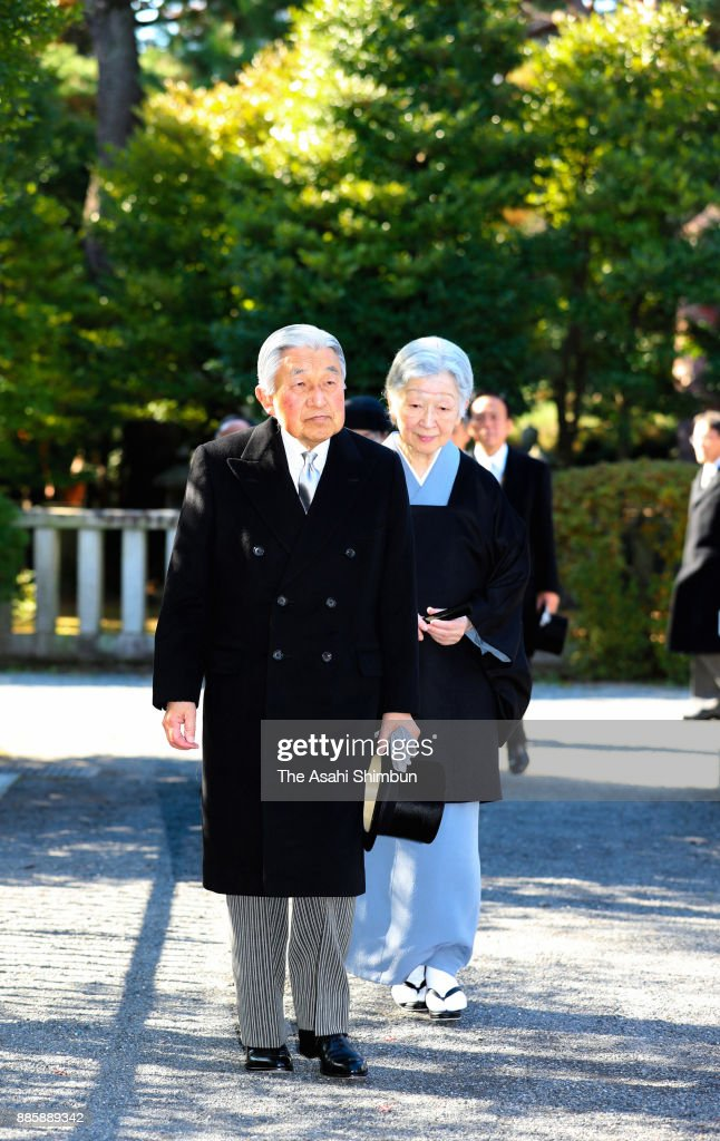 Emperor Akihito and Empress Michiko are seen on arrival at Toshimagaoka Cemetery to pay tribute to late Prince Mikasa on December 5, 2017 in Tokyo, Japan.
