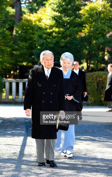 Emperor Akihito and Empress Michiko are seen on arrival at Toshimagaoka Cemetery to pay tribute to late Prince Mikasa on December 5 2017 in Tokyo...