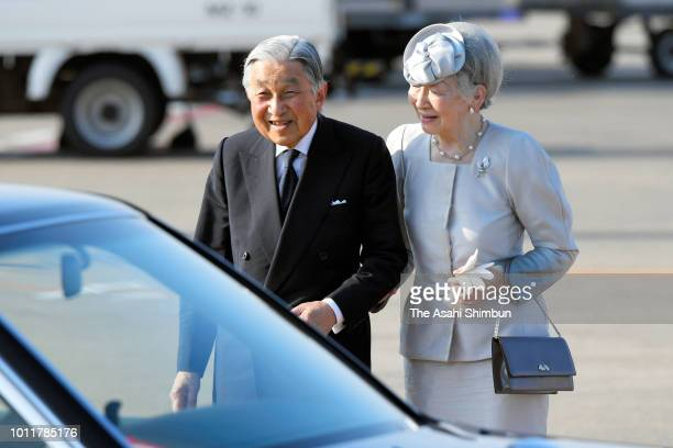Emperor Akihito and Empress Michiko are seen on arrival ato Hokkai Kitayell to attend the Hokkaido 150th anniversary ceremony on August 5 2018 in...