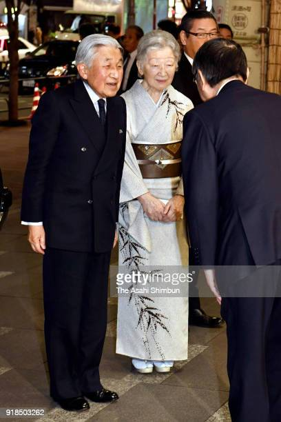 Emperor Akihito and Empress Michiko are seen on arrival at Kabukiza Theatre on February 14 2018 in Tokyo Japan