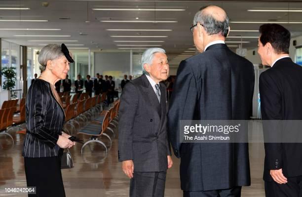 Emperor Akihito and Empress Michiko are seen on arrival at Komatsu Airport on September 28, 2018 in Komatsu, Ishikawa, Japan.