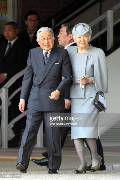 Emperor Akihito and Empress Michiko are seen on arrival at Kashikojima Station on April 19, 2019 in Shima, Mie, Japan. The emperor will abdicate at...