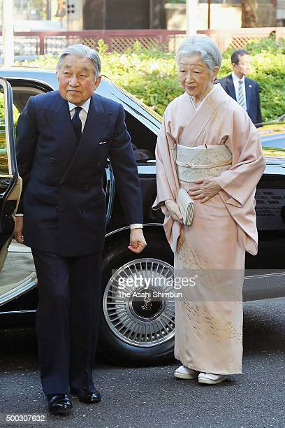 Emperor Akihito and Empress Michiko are seen on arrival at the Japan Academy to attend the International Prize for Biology award ceremony on December...