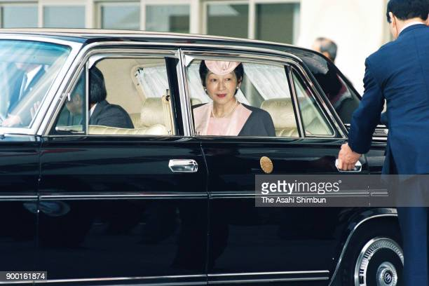 Emperor Akihito and Empress Michiko are seen on arrival at the opening ceremony of the national sports festival Yamagata Prefecture Athletic Stadium...