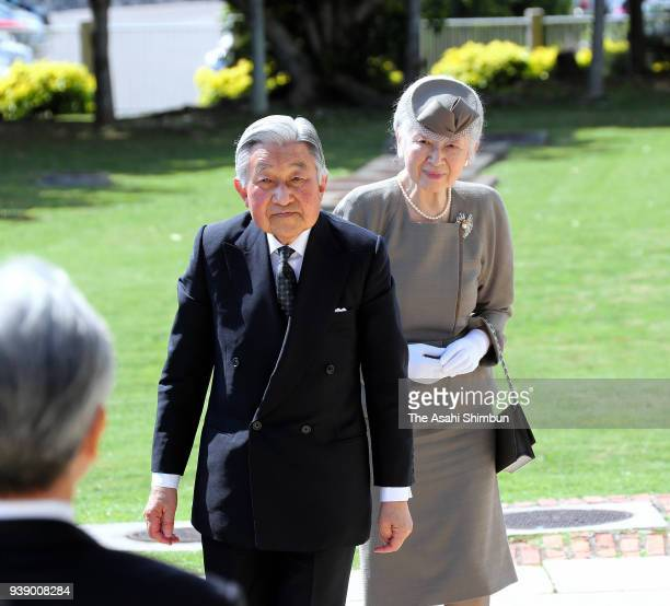 Emperor Akihito and Empress Michiko are seen on arrival at the Peace Memorial Hall at the Okinawa Peace Memorial Park on March 27 2018 in Itoman...