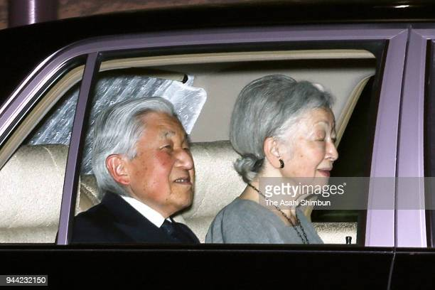 Emperor Akihito and Empress Michiko are seen on arrival at the togu Palace on April 10 2018 in Tokyo Japan