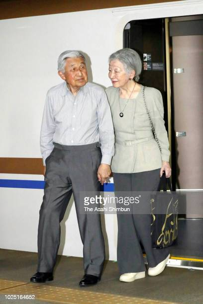 Emperor Akihito and Empress Michiko are seen on arrival at Tokyo Station on August 29 2018 in Tokyo Japan