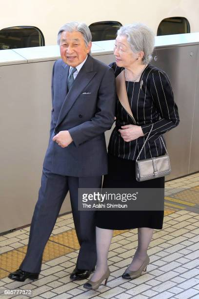 Emperor Akihito and Empress Michiko are seen on arrival at Tokyo Station after visiting Shizuoka with King Felipe VI and Queen Letizia on April 7...
