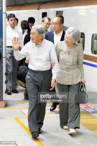 Emperor Akihito and Empress Michiko are seen on arrival from their visit to Nagano and Gunma Prefectures at JR Tokyo station on August 29 2017 in...