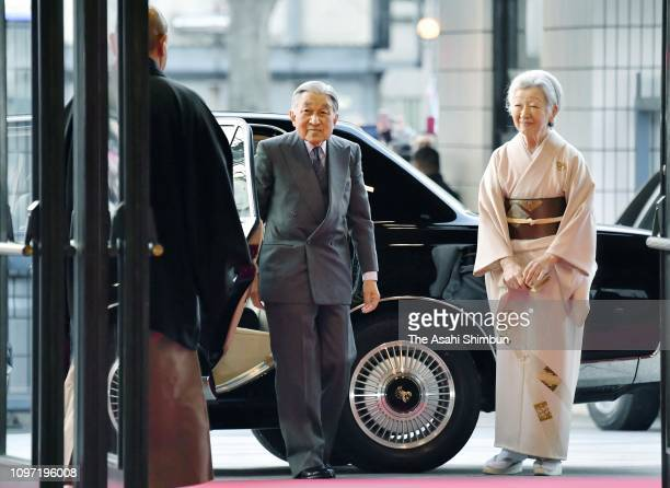 Emperor Akihito and Empress Michiko are seen on arrival in their final visit as emperor and empress on day eight of the Grand Sumo New Year...