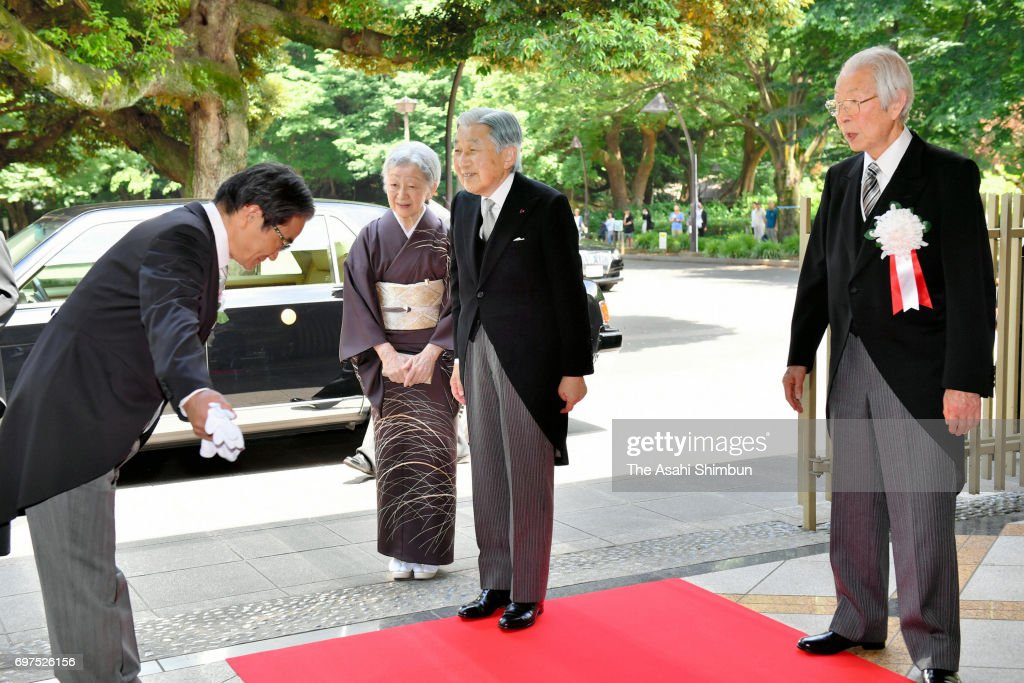 Emperor Akihito and Empress Michiko are seen on arrival to attend the Japan Art Academy Award Ceremony on June 19, 2017 in Tokyo, Japan.