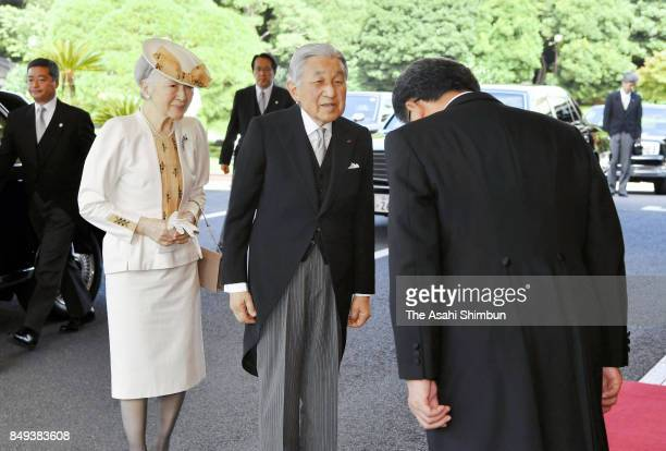 Emperor Akihito and Empress Michiko are seen on arrival to attend the 70th Anniversary Of the Japan WarBereaved Families Association Foundation...