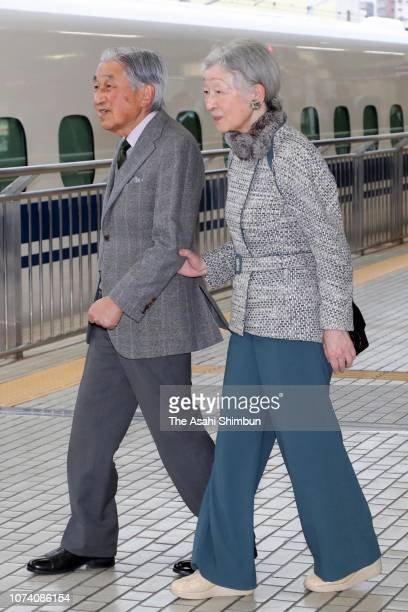 Emperor Akihito and Empress Michiko are seen on departure at JR Hamamatsu Station on November 28 2018 in Hamamatsu Shizuoka Japan