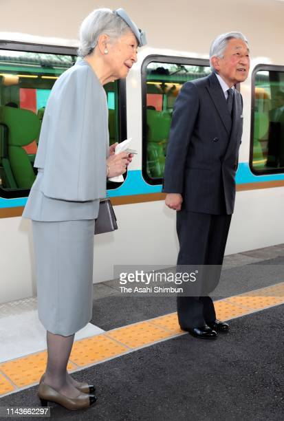 Emperor Akihito and Empress Michiko are seen on departure at Kashikojima Station on April 19, 2019 in Shima, Mie, Japan. The emperor will abdicate at...