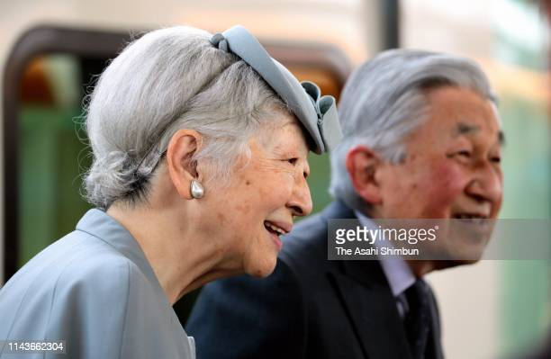 Emperor Akihito and Empress Michiko are seen on departure at Kashikojima Station on April 19 2019 in Shima Mie Japan The emperor will abdicate at the...